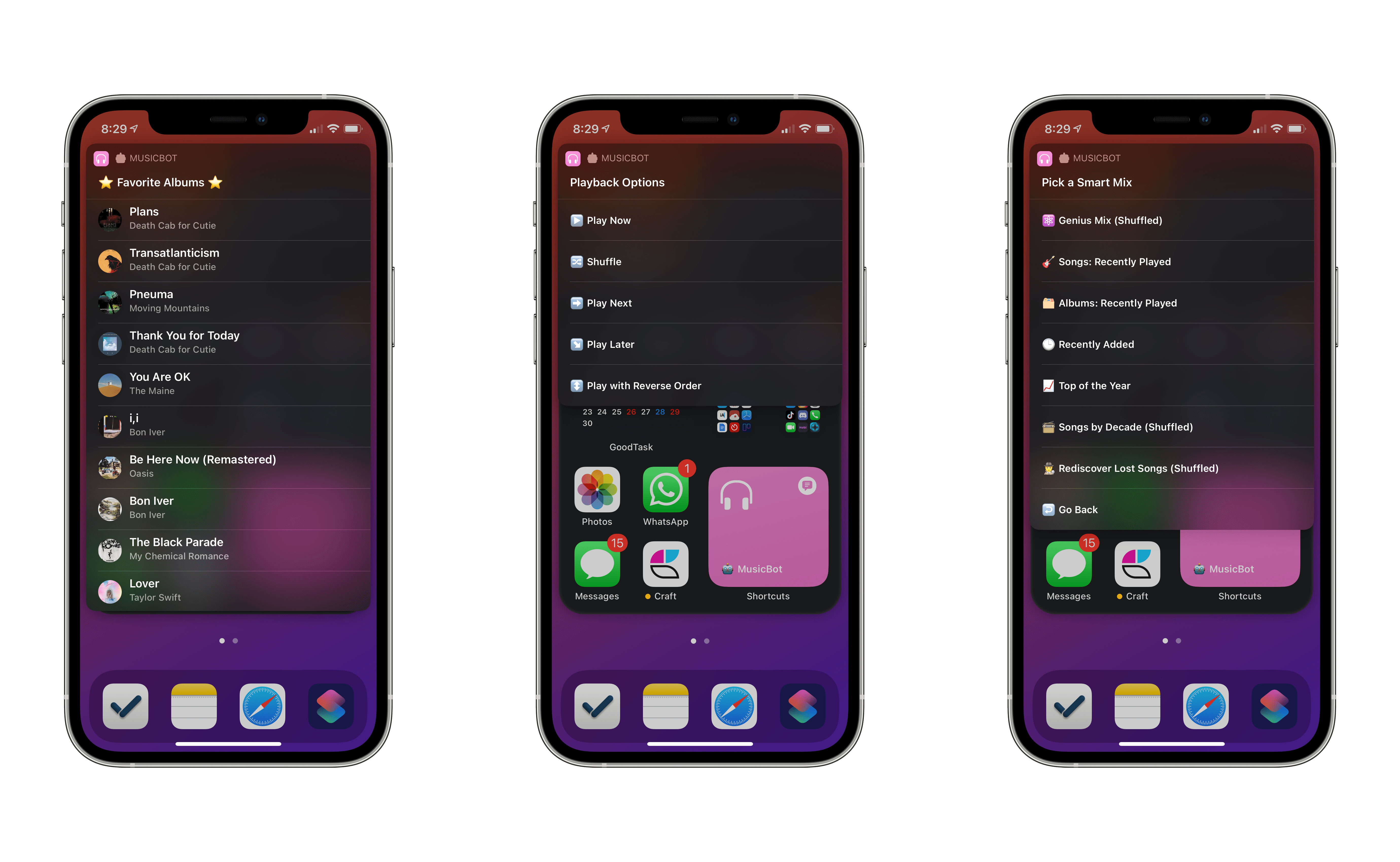 MusicBot actions running with compact UI on the iOS 14 Home Screen.