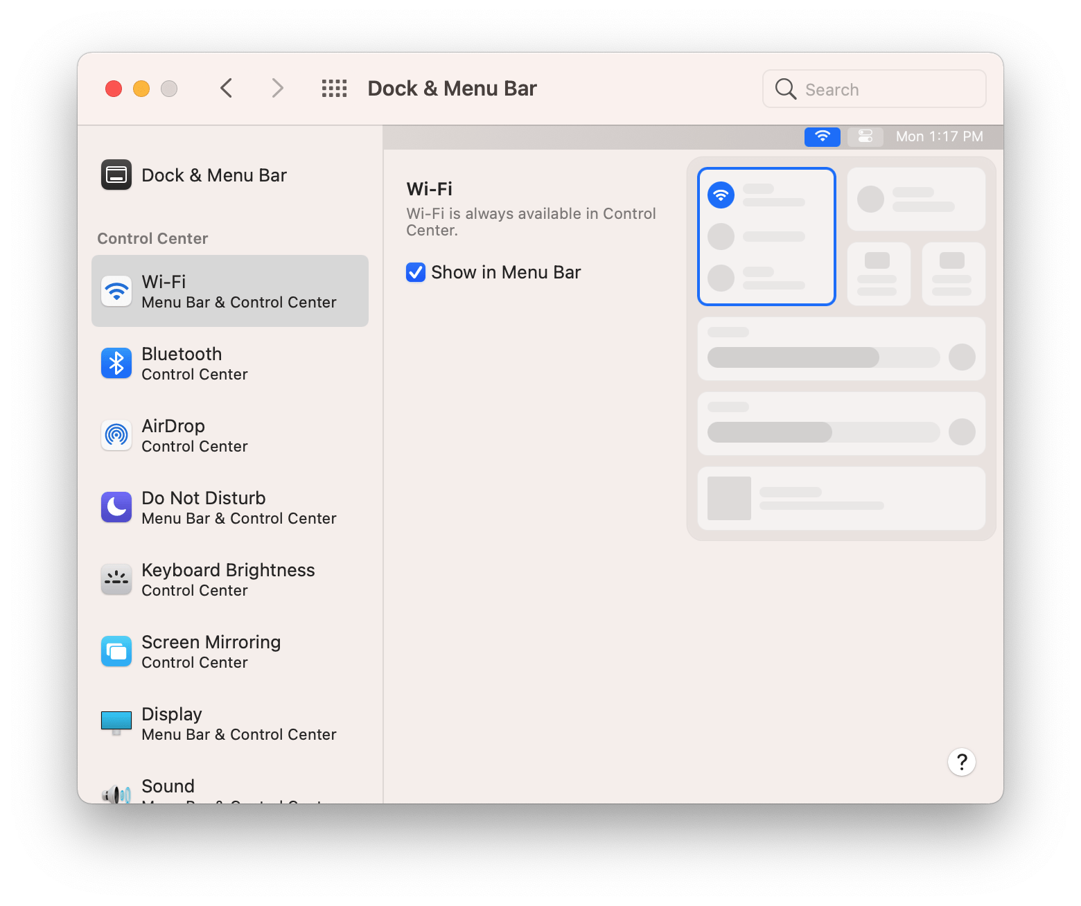 The Control Center settings in System Preferences could stand to be condensed because they dedicate an entire pane to one checkbox and in some cases a drop-down menu too.