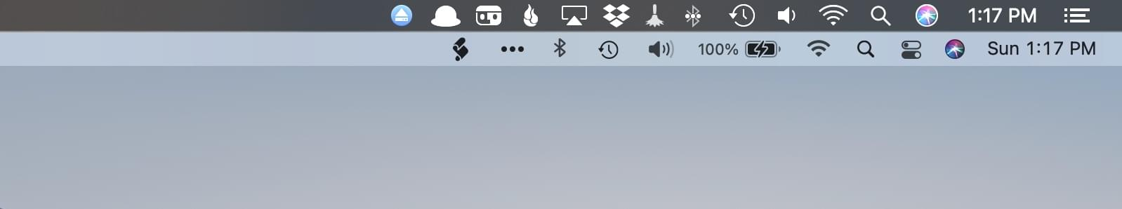 There is slightly more space between menu bar icons in Big Sur (bottom) than Catalina (top).
