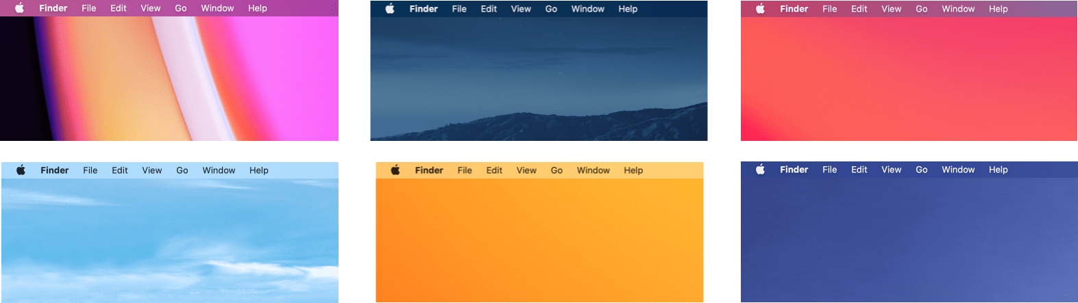 The translucency of the menu bar makes it take on the character of the desktop picture.